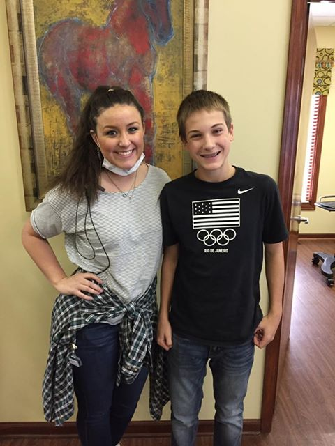 Sam got his braces put on