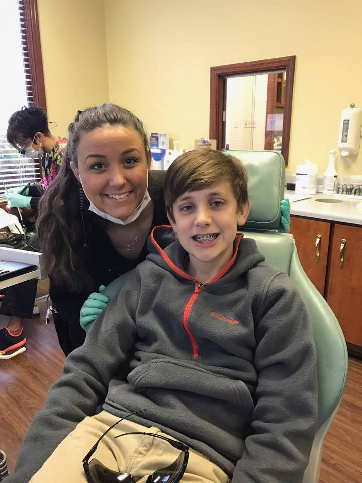 Jordan put Drew's braces on today!!